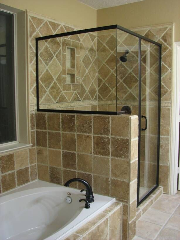 Our master bathroom shower looked like this in our nc Master bathroom remodel ideas