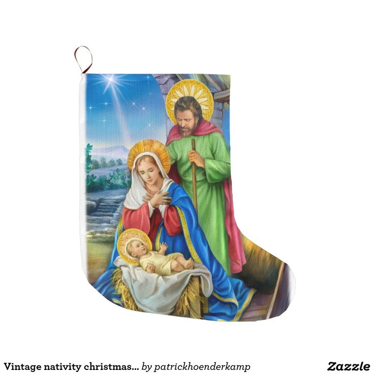 De vintage kous van nativityKerstmis Grote Kerstsok