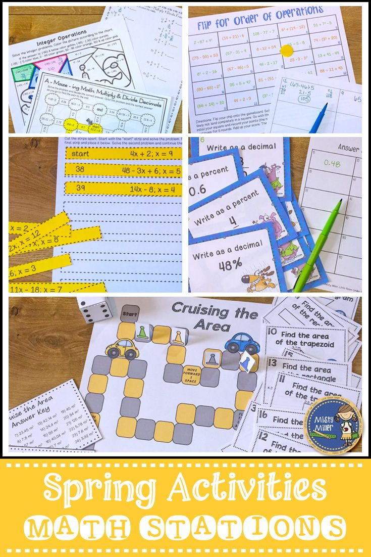 Spring Math Activities includes 7 activities: *Integer Operations Color Sheet *Fraction, Decimal, Percent Task Cards *Multiply & Divide Fractions Riddle Sheet *Multiply & Divide Decimals Maze *Order of Operations Math Flip *Area Board Game {includes area of rectangle, area of parallelogram, area of triangle, and area of trapezoid} *Evaluate Expressions (one variable) I Have