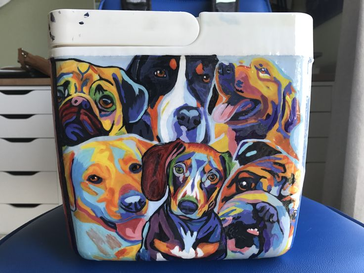cooler painting idea dogs puppies colorful creative frat srat cooler connection