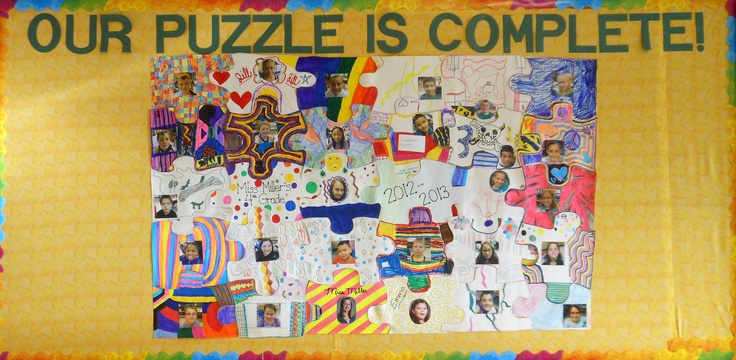 Puzzle Bulletin Board - each student decorates a piece of the puzzle before it is put together...my class loved doing this!