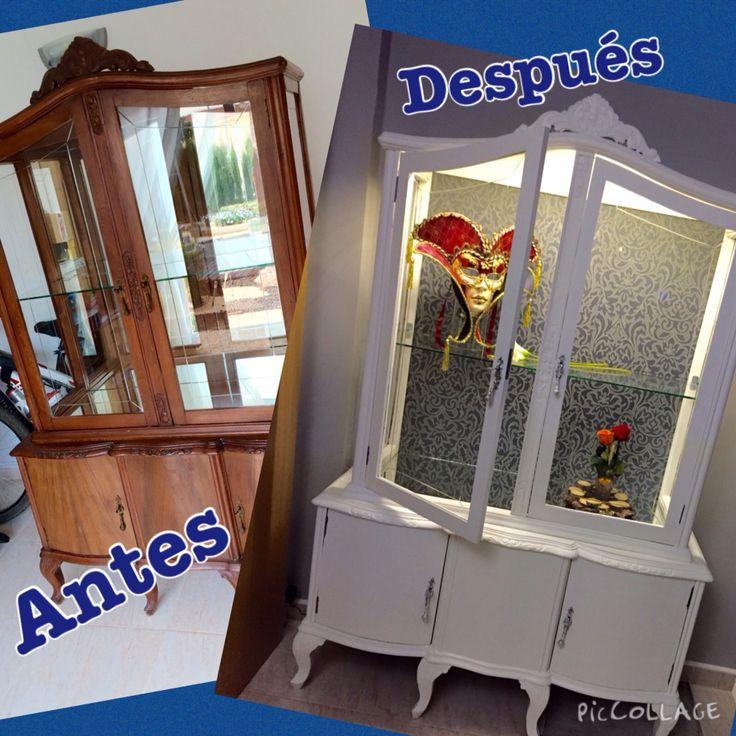 Antes y después de una vitrina restaurada, vintage