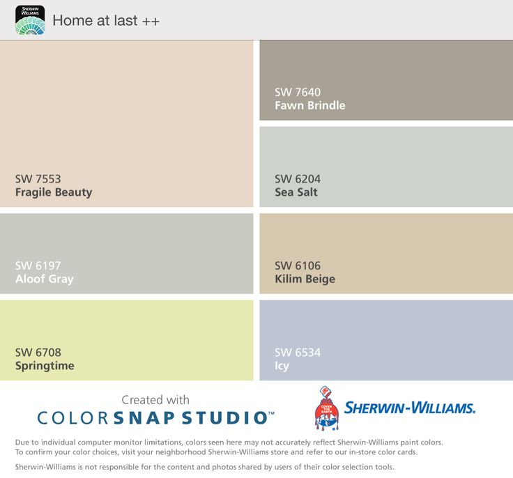 Home colors. Fragile beauty as main wall color.  Love aloof gray in family room.  Accents of springtime. Master in sea salt with master bath in fawn brindle. Guest room in Kilim beige with accent wall in icy.  All sherwin williams.