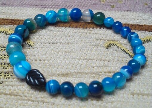 Men's bracelet - Agate beads - Blue stripe (6, 8 mm)