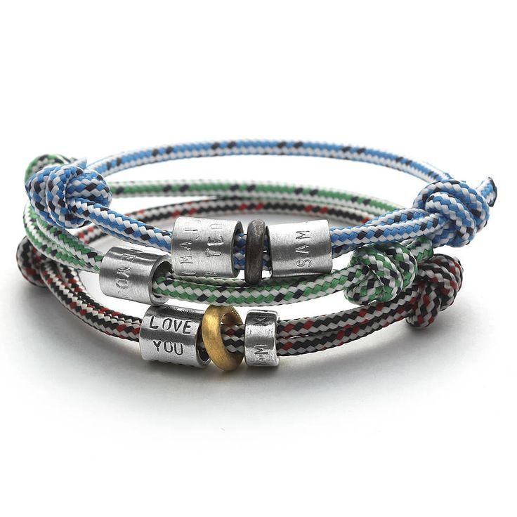 personalised men's rope bead bracelet by chambers & beau | notonthehighstreet.com