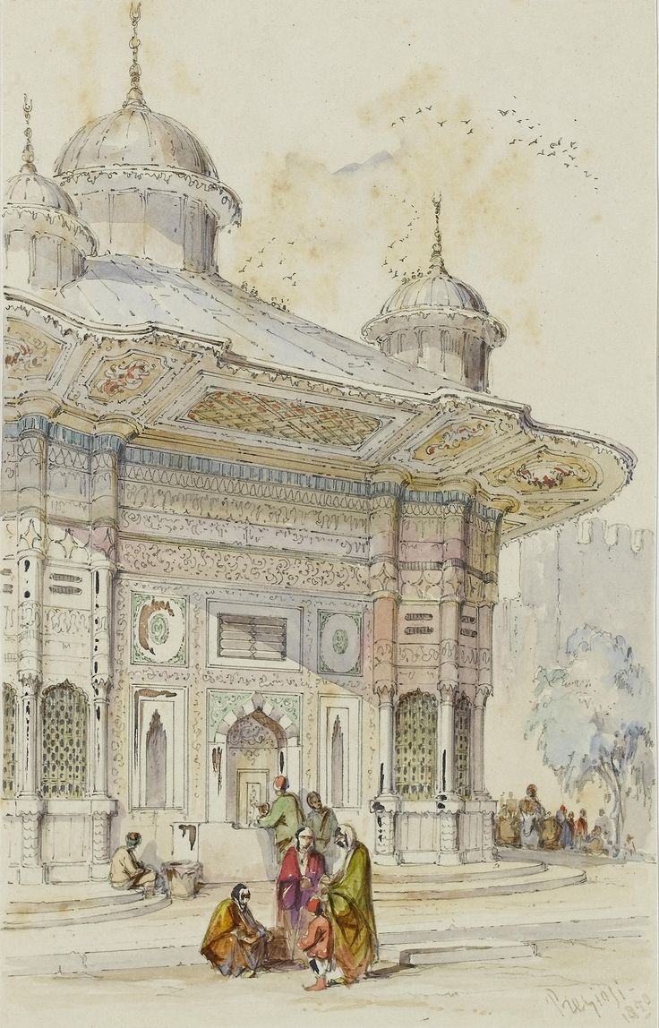Count Amadeo Preziosi (Maltese, 1816-1882) The drinking fountain of Ahmed III at the Topkapi Palace | par OTTOMAN IMPERIAL ARCHIVES