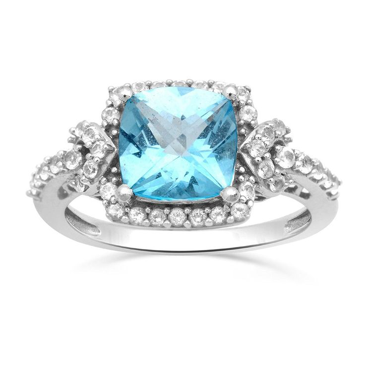 Jewelili 10kt White Gold 8 X 8 MM Cushion Cut Blue Topaz Halo Ring, Size 7 *** Click image for more details. (This is an Amazon Affiliate link and I receive a commission for the sales)
