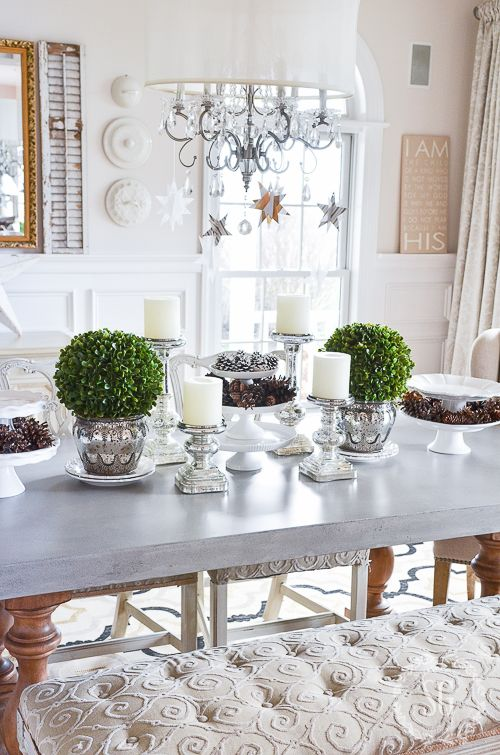 terrific kitchen table centerpiece | WINTER WHITE DINING ROOM CENTERPIECE | Dining room ...