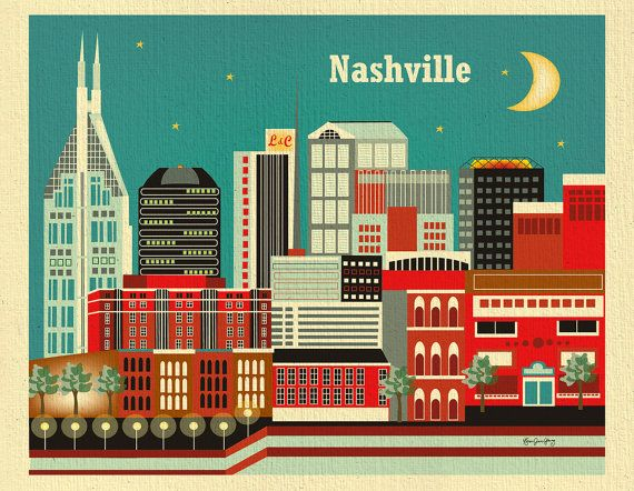 Nashville, Tennesse Skyline -  8 x 10 City Wall Art Print for Home, Nursery, and  Office Top Seller - Style E8-O-NA