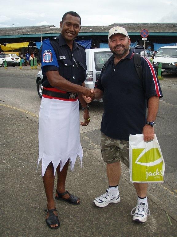 Me with a local copper in Suva, Fiji