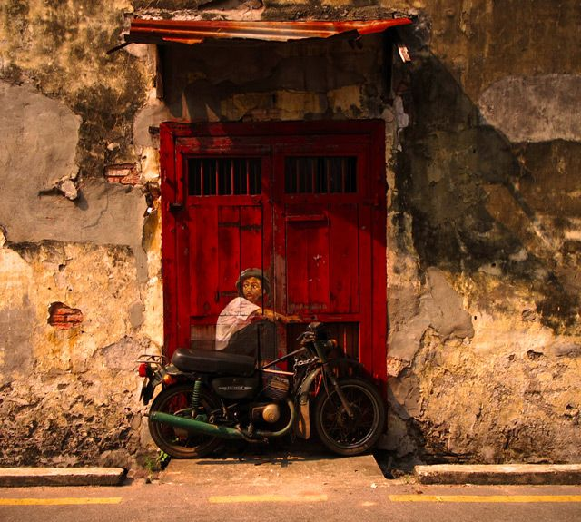 Interactive Paintings on the Streets of Malaysia: Ernest Zacharev, Street Artists, Art Paintings, Old Motorcycles, Doors Color, Wall Paintings, Art Kids, Bike Art, Art Wall