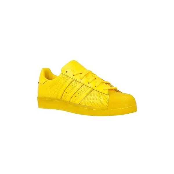 adidas Superstar Adicolor Shoes (Trainers) ($165) ❤ liked on Polyvore featuring shoes, sneakers, trainers, women, yellow, adidas shoes, adidas sneakers, adidas footwear, adidas and yellow sneakers
