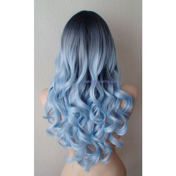 Light blue Ombre wig. Dark roots Pastel silver blue wig. Long curly... ($150) ❤ liked on Polyvore