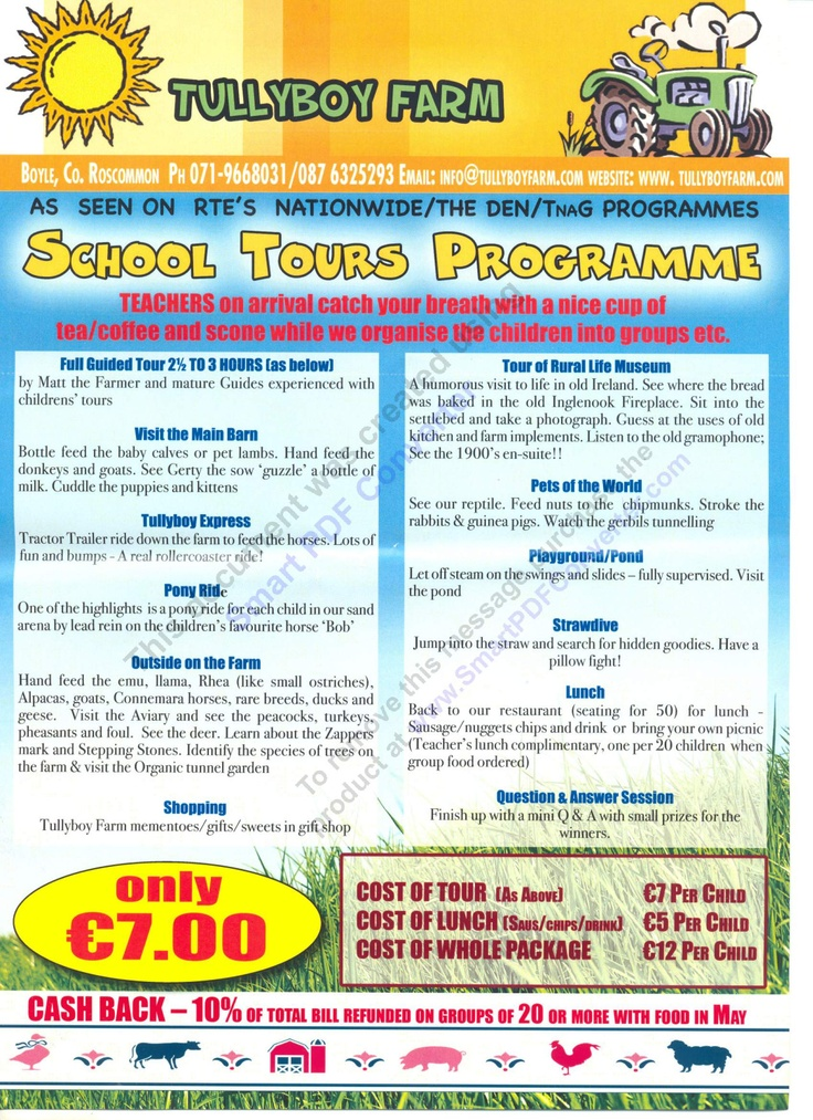 school tours flyer  Also included in the tour is a barrel train ride (not mentioned in the flyer)
