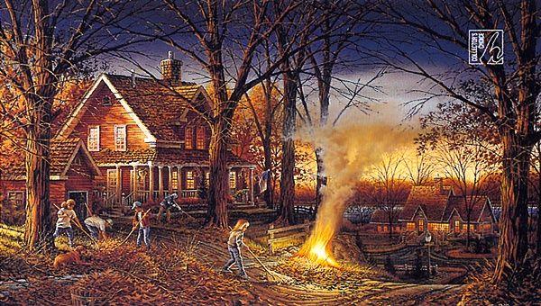 Autumn Burning Leaves Raking Illustration Terry Redlin