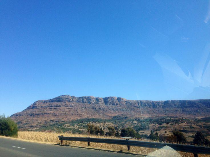 Driving through the beautiful Ba-Sotho mountains of Maseru, Lesotho, 2014