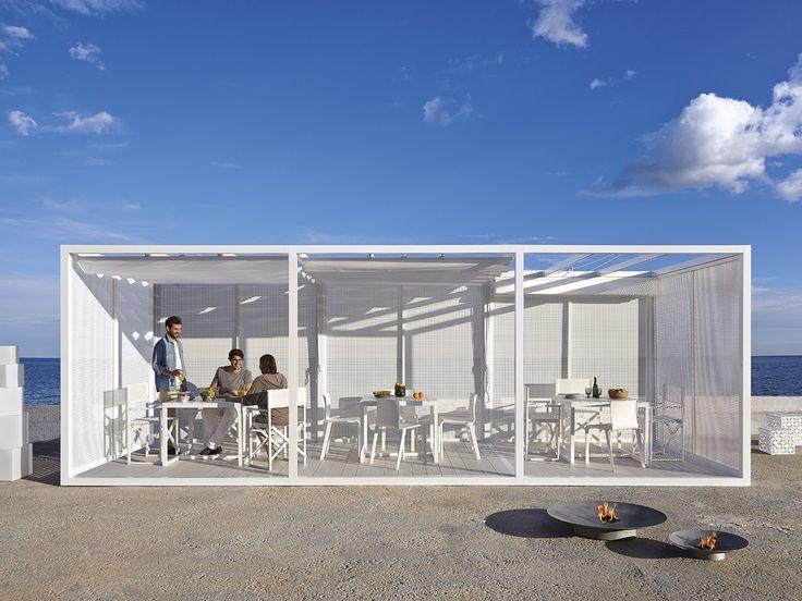 Download the catalogue and request prices of Module retractable roof By gandia blasco, freestanding aluminium pergola with sliding cover design José Antonio Gandía-Blasco, módulo Collection