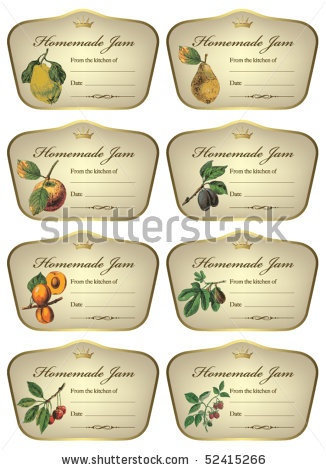 Vector labels for jars of different homemade jam