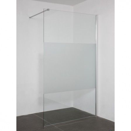 Saniselect Inloopdouche met glasbewerking 120x200cm links Aluminium / Helder Glas