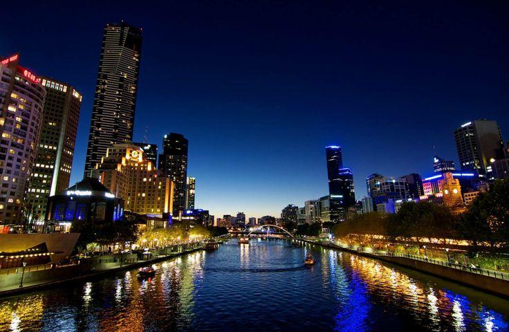 Southbank at dusk, Melbourne, Victoria