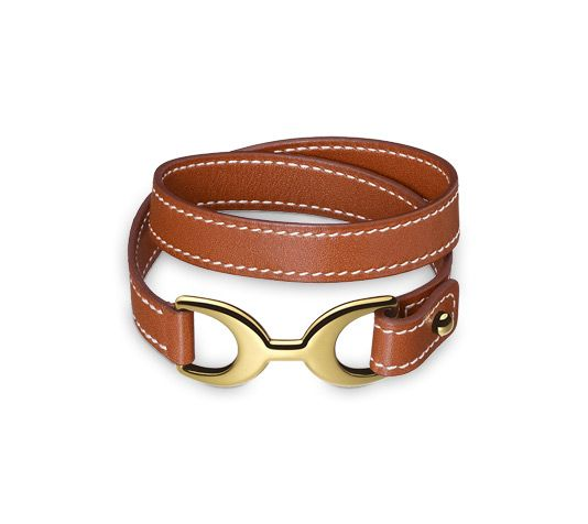 Baby Pavane Double-loop leather bracelet in Fawn Tadelakt calfskin, gold-plated clasp (wrist size <17 cm)