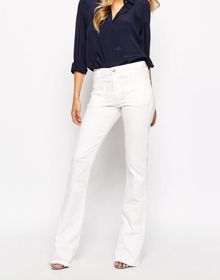 Image 4 ofMango White 70's Flare Jeans