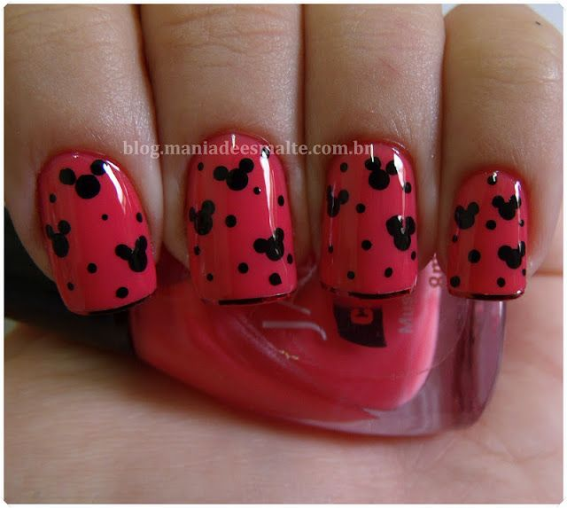 Mickey Mouse nails. Great for Disney World/Land!