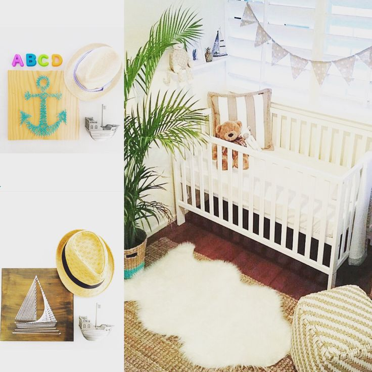 Nautical inspired baby nursery. A sail boat or anchor string art piece would complement it perfectly