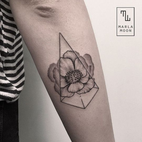 Cool geometric tattoo by Marla Moon.