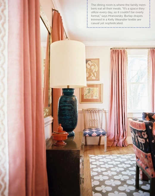 Lonny. Pink burlap drapes w/KWearstler trim: Pink Curtains, Dining Rooms, Decor, Living Rooms, Color, Pink Rooms, Interiors Design, House, Rugs