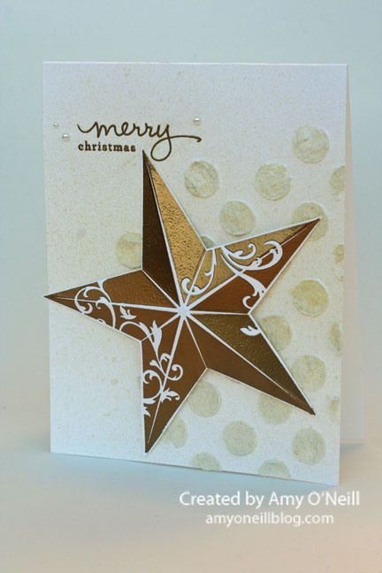 Love the Christmas Star embossed in gold!: Single Stamps, Gold Stars, Stampin Up, Mondays Montages, Winter Cards, Christmas Montages, Stars Cards, Handmade Christmas Cards, Christmas Stars