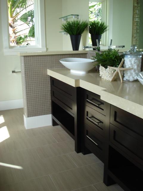 Dark Cabinets Beige Tiles House Bathroom Pinterest