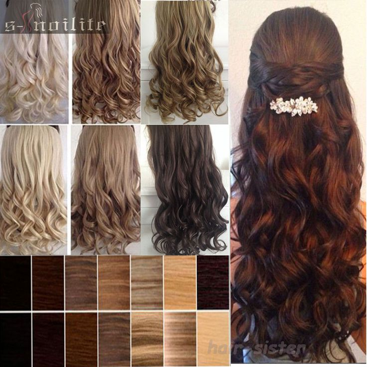 SUPER SALES ! 18-28 inches 45-70CM Curly/Wavy Clip in Hair Extensions 3/4 Full head Long Black Brown Blonde Auburn Red FREE SHIP