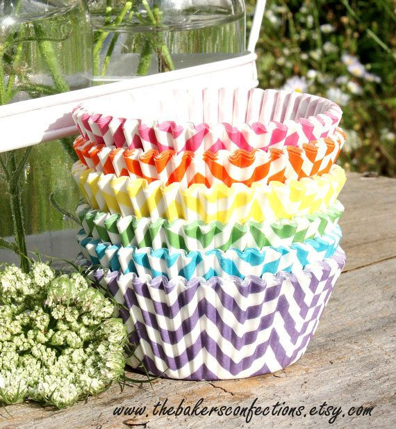 Girls Rainbow Chevron Cupcake Liners - ZigZag Baking Cups, DESIGNER GREASE RESISTANT (60 count - 10 each color) on Etsy, $4.95