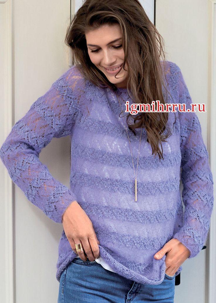 Воздушный ажурный пуловер в полупрозрачную полоску. Вязание спицами  Воздушный, мягкий и довольно теплый пуловер, связанный по  кругу полосами ажурного узора, которые образуются за  счет использования двух видов пряжи: шерсти и кид мохера с шелком. Этот прием придает дизайну модели особенное очарование. Если взять более толстые спицы, изделие получится еще более легким и тонким