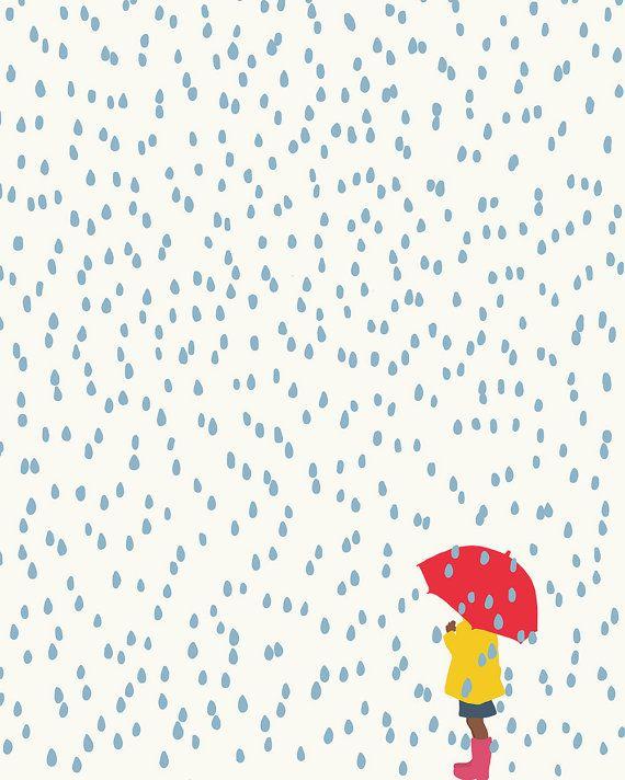 Superb Artwork Print. Fille avec le parapluie sous la pluie. le 2 avril 2016
