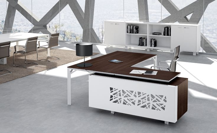 This contemporary luxury desk series combines a high level, refined look suitable for a CEO or VP with design attributes that can give the desk design a bit of funky, edgy look as well. In addition to the unique leg design, a modern laser cut metal side panel option is available for extraordinary visual impact. Find out more and shop on our website.