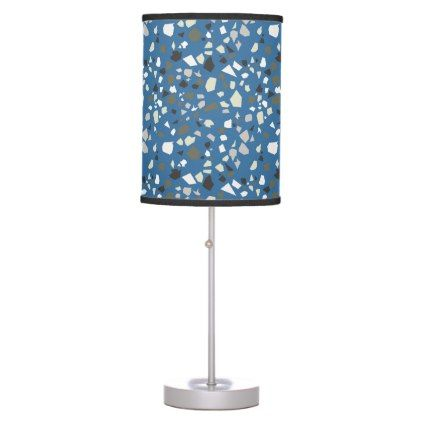 Terrazzo Blue Black Khaki White Table Lamp - modern gifts cyo gift ideas personalize