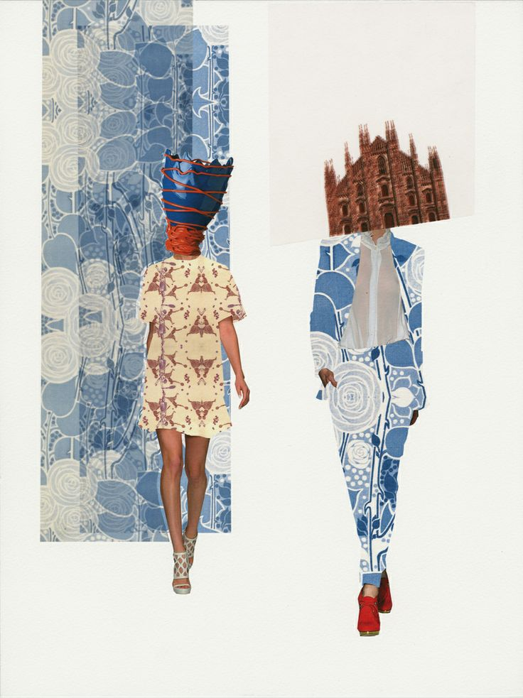 Milano walk, 2014 original collage for Convivio Milano ad campaign - Claudia Scarsella