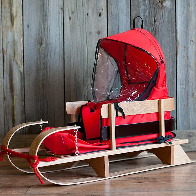 JAB Classic Wooden Deluxe Baby Sled with Cushion and Windshield