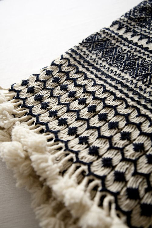 Hand woven brocaded and embroidered wool throw