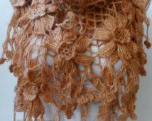 Alta qualità basso prezzo in vendita... Mohair caramello uncinetto scialle avvolgere Flower Bridal Scialli scialli scrollata di spalle da Damigella di nozze regali di giorno di madri