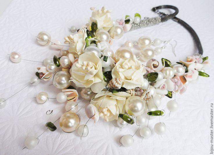 """Купить """"СЛИВОЧНОЕ МОРОЖЕНОЕ"""" - комплект - комплект для невесты, свадебное колье, украшение для свадьбы, нарядный комплект"""
