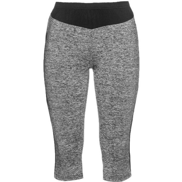 Studio Grey / Black Plus Size Cropped sports leggings ($68) ❤ liked on Polyvore featuring activewear, activewear pants, grey, plus size, plus size activewear pants, plus size activewear, sports jerseys, sport jerseys and plus size sportswear