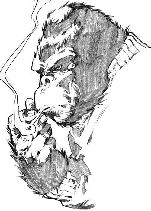 Gorilla Man of the Agents of Atlas (Marvel Comics) B&W sketch smoking cigarette