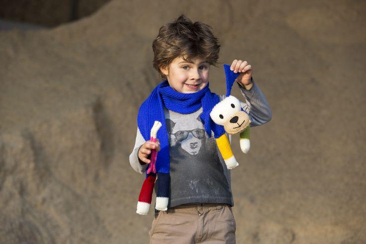 Sciarpa con peluche realizzata con il nostro kit Tobia dello Zoo di Mondial! #lanemondial #zoo #mondial #yarn #style #baby #fashion #kit