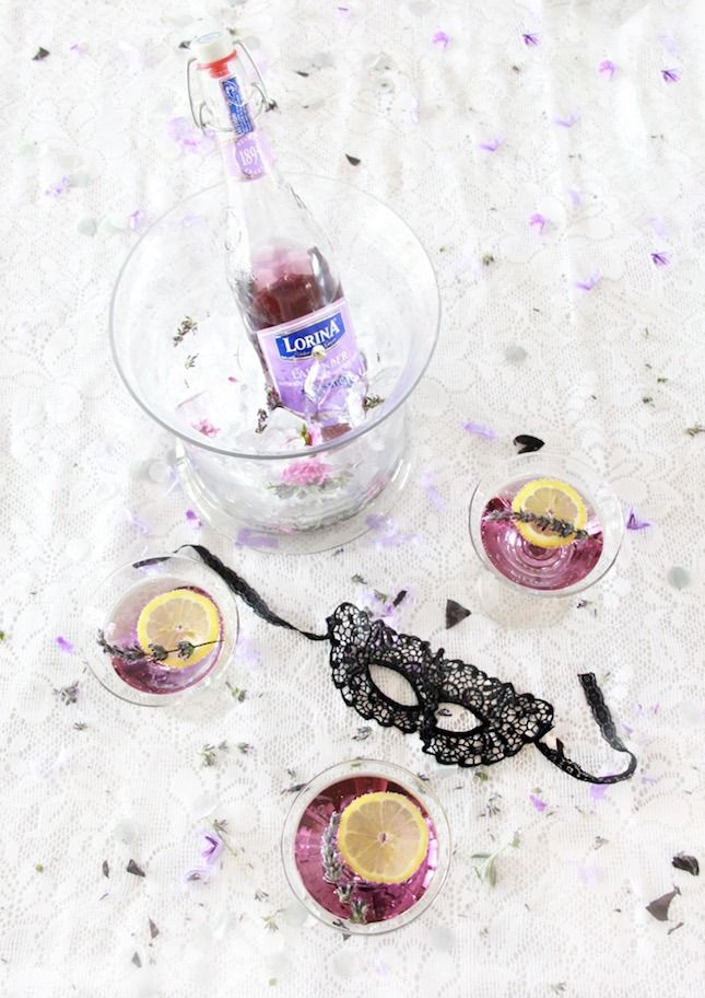 Save this to learn how to throw a DIY masquerade party and shake up a Lavender Vanilla Martini.