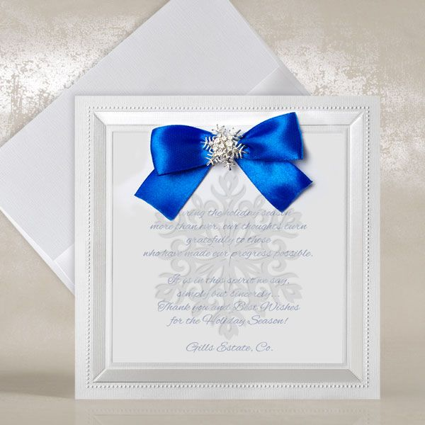 White Corporate Christmas Cards with Blue Bow - Snowflake - Polina Perri