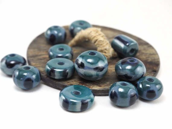 Nautical beads for necklace!  #autical #beads #pottery #ceramics #etsy #handmade #jewelry #necklace