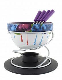 KAMILLE Ceramiczny zestaw do fondue dla 4 osób OWOCE